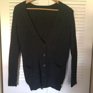 Charcoal Gray Cardigan Cable Knit